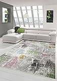 Designer und Moderner Teppich Kurzflor Wohnzimmerteppich in Lila Beige Grün Blau Größe 160x230 cm