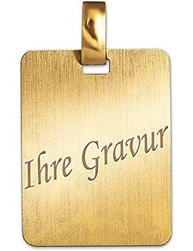 CLEVER SCHMUCK-SET MIT GRAVUR Goldene Gravurplatte rechteckige Form 19 x 14 mm komplett matt schlicht 333 GOLD...