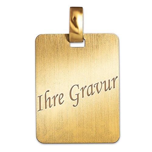 CLEVER SCHMUCK-SET MIT GRAVUR Goldene Gravurplatte rechteckige Form 19 x 14 mm komplett matt schlicht 333 GOLD 8 KARAT mit Etui