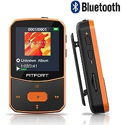 Reproductor MP3 Bluetooth 4.1 - MP3 Bluetooth Running, Sonido de Gama Alta, Radio FM, Grabación de Voz, E-Book, Podometro, Pantalla de Color de 1.5 Pulgadas, Soporte hasta 128GB Tarjeta