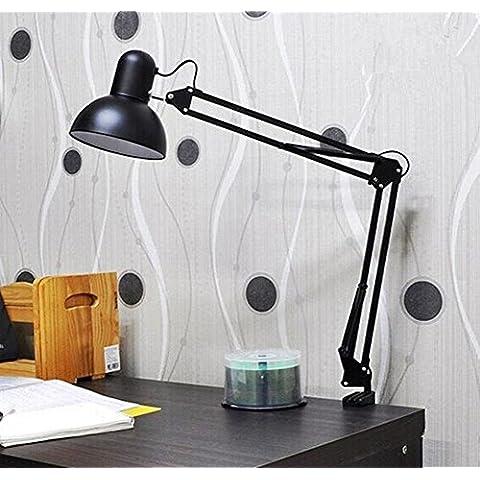 FWEF apprendimento occhio protezione Desk Lamp/LED lavoro lampada Comodino lampada semplice lungo braccio Ufficio studenti Clip lampada da lettura . black . 520mm