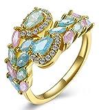 Epinki Vergoldet Damen Ringe Offener Ring Antragsringe Heiratsantrag Ring Bunt mit Bunt Zirkonia Gr.54 (17.2)