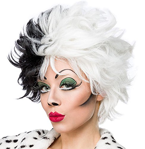 De Cruella Kostüm Vil Perücke - Schwarz weiße Damen Kurzhaar Perücke Wig mit gestuftem Haar kurz Evil Dalmatian Lady Perücke