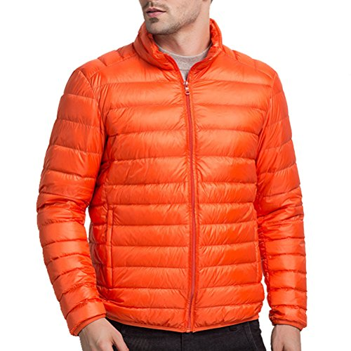 Zhuhaitf GUTE QUALITÄT Mens Boys Winter Lightweight Down Jacket Warm Outwear Stand Collar Orange