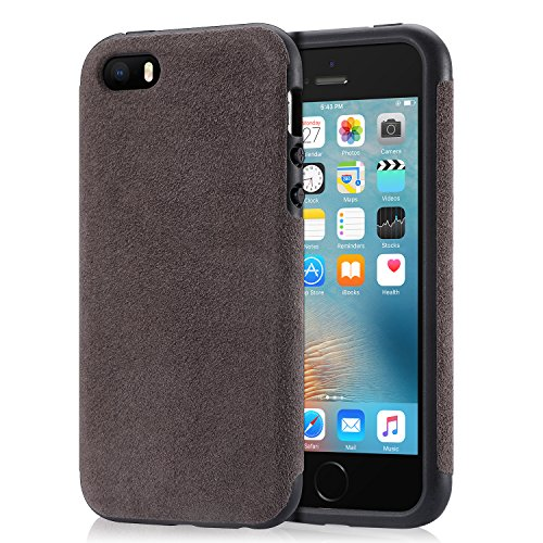 Mthinkor iPhone SE Hülle Robuste TPU Bumper Shockproof Drop Schutz Luxus Alcantara Decken Fall für iPhone SE iPhone 5S und iPhone 5 (Gray) (Luxus Iphone 5 Fall)