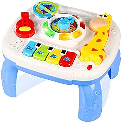 Musical Learning Table for Babies, Xndryan Early Learning Center Toys Baby Standing Play Table, Children's Activity Table for 1 2 3 4 5 Year Old Kids, Built-in Animal Sounds, Music & Lighting Function