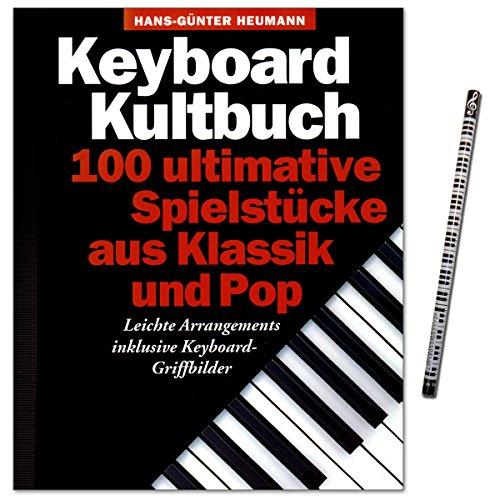 Keyboard Kultbuch - 100 ultimative Spielstücke aus Klassik und Pop - mit den Griffbildern am Anfang des Songs und der Melodielinie mit Akkordsymbolen darüber - Songbook mit Musik-Bleistift