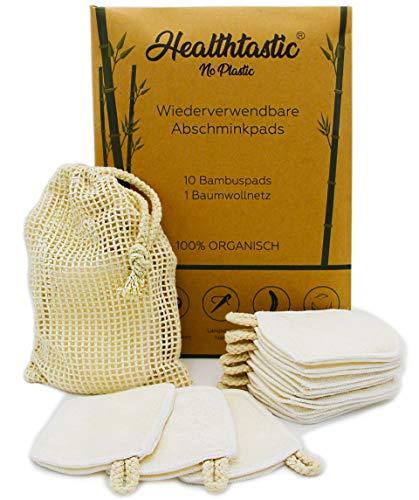 Healthtastic ® 10 x Innovative XL Fingerpads - 4 LAGEN - Waschbare Abschminkpads aus Bambus und Baumwolle INKL. Waschnetz - Wiederverwendbare Bio Wattepads & Gesicht Abschminktücher -