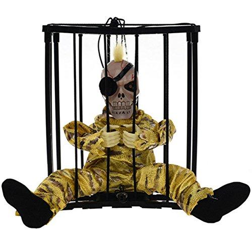 Halloween Dekorationen Sensor Bewegung Hanging Caged Animierte Gefängnis Gefangene Skeleton Terror Blinkende Leuchte Stange (Halloween Beängstigend Animierte Bilder)