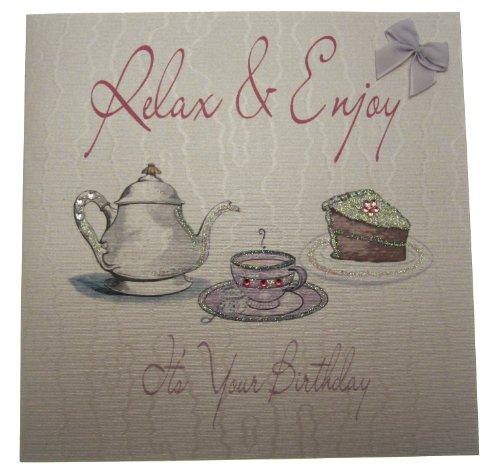 lückwunschkarte Relaxen und genießen ES Ihren Geburtstag Karte, Tee und Kuchen ()