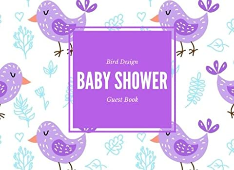 Bird Design Baby Shower Guest Book: Purple Message Book, Memory