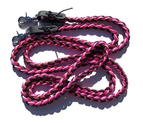 VIVA NATURE Handgeflochtene Zügel \\ bunt \\ englisch ca 2,80m Flechtzügel \\ Flechleine \\ Pferd \\Reiten ... (Pink schwarz)
