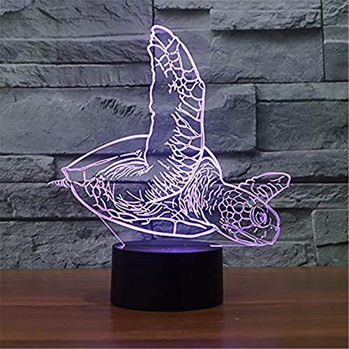 Zycx-light Veilleuses/3D Sea Turtle Motif Nuit Lumière LED Bouton Tactile Lampe De Table USB 7 Couleurs Changer Chambre Éclairage Décor pour Enfants Jouets Cadeaux