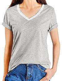 iPretty manga corta floja ocasional de la camiseta de la blusa Tops