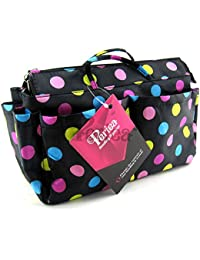 Periea - Organiseur de sac à main, 13 Compartiments - Prya (Noir à pois multicolores)