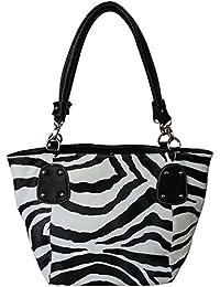 FASH Zebra Imprimer faux cuir Sac à main , Noir, Taille