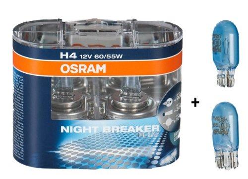 Cool Plus Polo (Osram Nightbreaker Plus H4 Duo Pack 2. Generation (2 Stück Glühbirnen) + 2 Stück Osram 2825CB W5W Cool Blue Standlichtern)