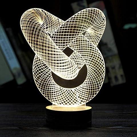 Nette LED-Nachtlicht - Kingwo Nachtlicht Optische 3D Kette Link Lighting Laser geschnitten Schreibtischlampe USB LED