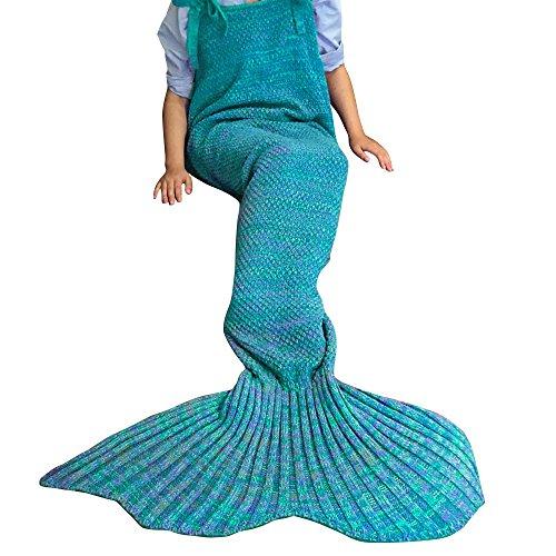 iEFiEL Mädchen Damen Kostüm Meerjungfrau Fischschwanz Decke Schwanz Flosse Handgemachte Schlafsack Blanket Kostüm Häkel Erwachsene Decke, Blau ( Stil 3 ), Erwachsene Größe
