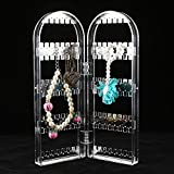 Yosoo Lockable Jewelry Organizer Rack Earring Holder Necklace Bracelet Stand Display Storage Double Door Shape Clear Color