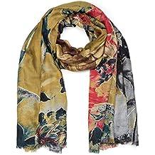 styleBREAKER Châle pour femme avec motif abstrait à fleurs et franges,  écharpe d hiver 31f056969c7