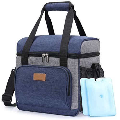 Lifewit Kühltasche Cooler Bag Kühlbox Thermo Tasche Lunchtasche isoliert faltbar für Lebensmittel unterwegs am Strand auf Autoreisen bei Arbeit Picknick Campingausflug,Dunkelblau