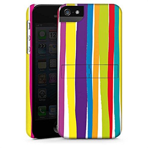 Apple iPhone X Silikon Hülle Case Schutzhülle Streifen Farben gestreift Premium Case StandUp