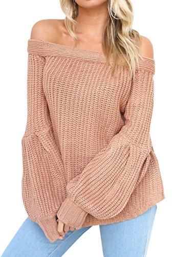BLACKMYTH Femme Bustier Pulls Tricot Manchon Lanterne Casual Chandail Sweater Rose