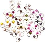 1 großes Straßrad mit 120 Stück silberfarbenen DANGELS / PIERCINGS: rund mit kleiner Perle (12 Farben je 10 Stück)