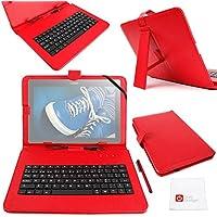 "DURAGADGET Funda / Teclado ESPAÑOL Roja 10.1 "" Para Tablet Lenovo Tab 2 A10-70F - 10.1"" - Conexión MicroUSB + Lápiz Stylus"