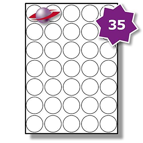 �tter, 350 Etiketten. Label Planet® A4 Runden Schlicht Weiß Matt Papier Etiketten Für Tintenstrahl und Laserdrucker 37mm Durchmesser, LP35/37 R. (Avery-etiketten-kreis)