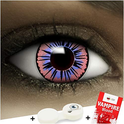 Farbige lilane Kontaktlinsen Fee + Kunstblut Kapseln + Behälter von FXCONTACTS®, weich, ohne Stärke als 2er Pack - perfekt zu Halloween, Karneval, Fasching oder Fasnacht