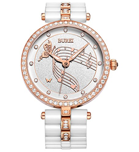BUREI-Women-Dress-Elegant-Watch-Wristwatch-with-Rose-Gold-Diamond-Crystals-Case-White-Ceramic-Bracelet