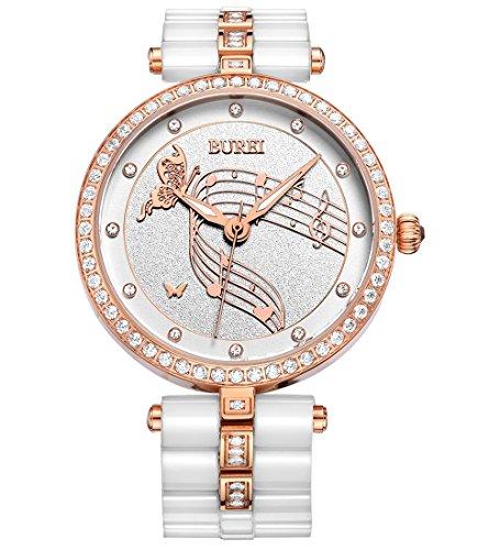 BUREI Femme Swarovski Cristaux Bracelet en céramique Blanc Montre à quartz montre-bracelet