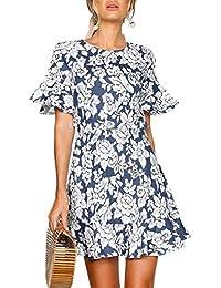 MYWY Abito donna casual vestito corto dettaglio floreale maniche corte  volants schiena seminuda f9bbf754f5c