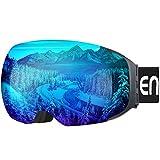 ENKEEO Gafas de Esquí, de Snowboard (Lente de dual capa Anti-Niebla, 100% UV400 protección, marco doblable, correa antideslizante, 3 capas de espuma resistente al viento) (Azul)