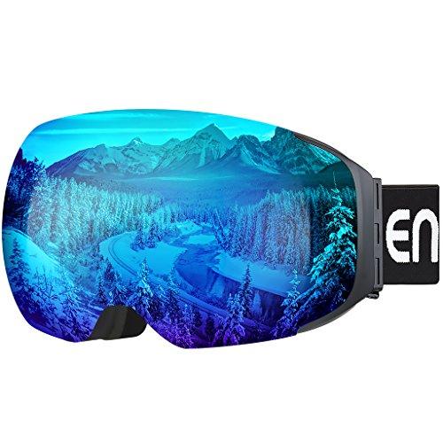 Enkeeo - Gafas de Esquí, de Snowboard (Lente de dual capa Anti-Niebla, 100% UV400 protección, marco doblable, correa antideslizante, 3 capas de espuma resistente al viento) (Azul)