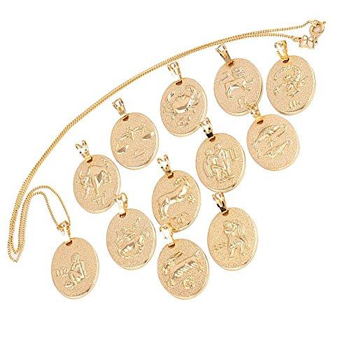 elegante Sternzeichen Kette Gold 18K echt vergoldet Luxus Schmuck Callissi Kette ca. 45-50 cm (Krebs) (Krebs Zeichen Schmuck)