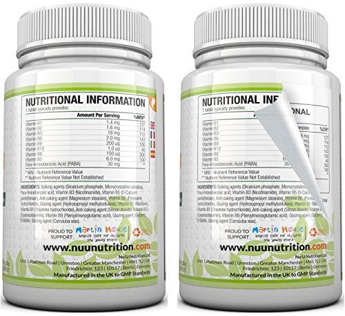 Vitamin B-Komplex – alle 8 B-Vitamine in einer Tablette – Vitamine B1, B2, B3, B5, B6, B12, D-Biotin & Folsäure – 6-Monats-Versorgung – 180 Tabletten – Nahrungsergänzungsmittel von Nu U Nutrition - 4