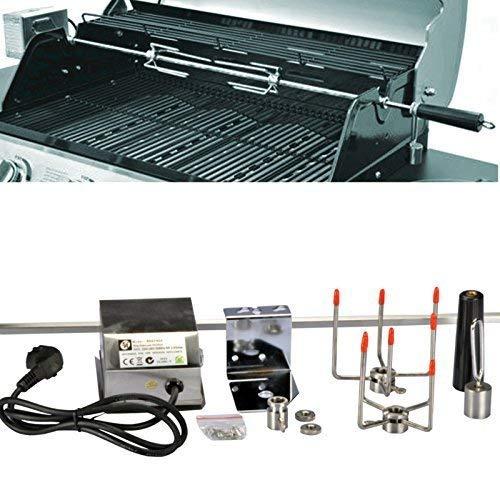 DRULINE Sale Edelstahl Drehspieß Grillspieß für Gasgrill Grill +Motor 220-240V 104 cm NEU 10x10 mm - Drehspieß Gegengewicht