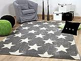 Soft Touch Velour Designer Teppich Canvas Sterne Grau in 4 Größen