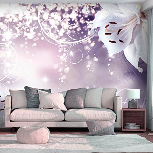decomonkey | Fototapete Blumen Lilien Abstrakt 250x175 cm XL | Tapete | Wandbild | Wandbild | Bild | Fototapeten | Tapeten | Wandtapete | Wanddeko | Wandtapete | Orchidee weiß Abstrakt violett