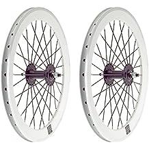 2x Llanta Rueda para Bicicleta Fixed Fixied de 700 Aluminio CNC MECANIZADO Piñon Fijo Color BLANCO 3750blanco