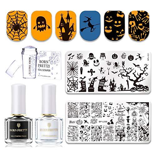 Born Pretty Nail Art Holloween Stempel Vorlagen mit Schwarz Weiß Stamping Set und Stempel & Schaber