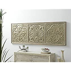 Dcasa - Panel tallado oriental de madera para cabezal de cama 191x67 cm .