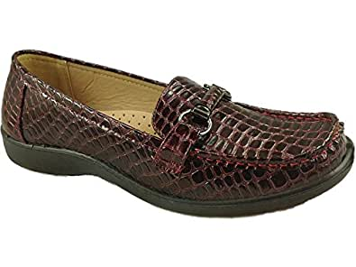 Cushion Walk Ladies Fern Patent Faux Croc Effect Flat Wedge Loafer Moccasin Shoes Size 4-8 (UK 3, Burgundy)