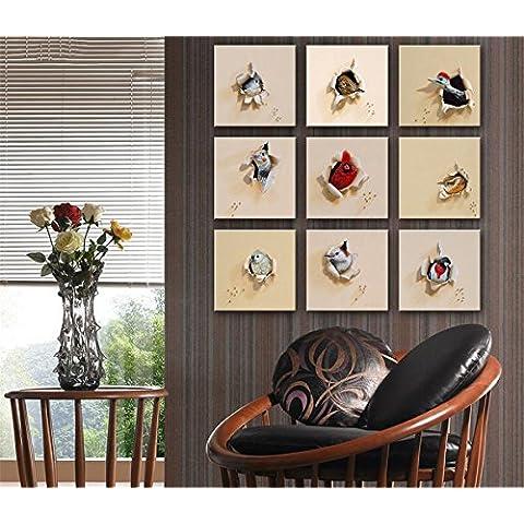 GYN 9 PCS pittura creativa 3D Hatch dell'uccello Serie Decorative giclée Canvas Prints senza cornice dipinti su tela di arte della parete per soggiorno da letto decorazioni per la casa , 20*20cm