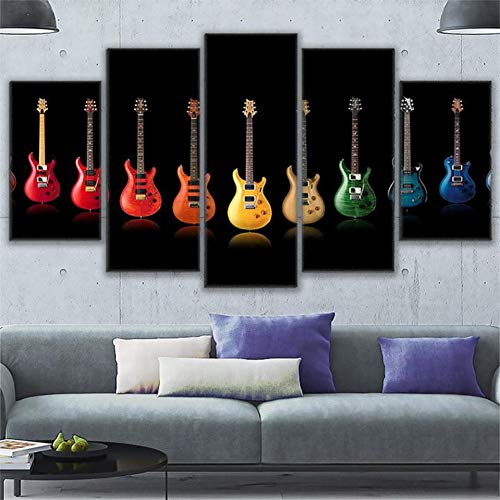 kunst Hd Druckt Malerei Modular Poster 5 Stück Bunte Rock and Roll Gitarre Collage Foto Wohnzimmer Dekor ()