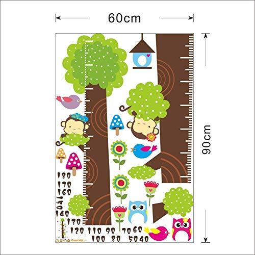 Metro adesivo da parete per registrare l'altezza, a forma di albero con gufi e scimmie, removibile, per misurare la crescita del bambino, decorazione per stanza dei bimbi Owl - 4