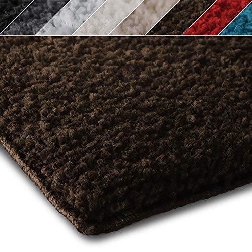 Shaggy Teppich Prestige | Flauschiger Hochflor Langflor | Zur Dekoration von Wohnzimmer, Schlafzimmer, Kinderzimmer | Öko-Tex 100 Zertifiziert | 8 Moderne Farben in 5 Größen (70x130 cm, braun)